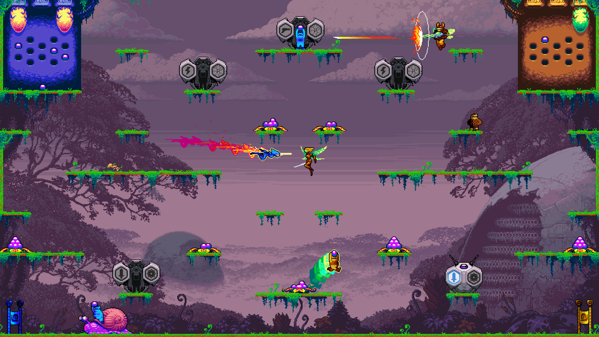 Many players throughout the level, some running with balls, one firing a laser, and two queens fighting